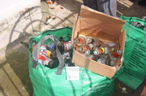 Thousands of bottles are collected every year off the streets of Belfast following St. Patrick's Day celebrations.
